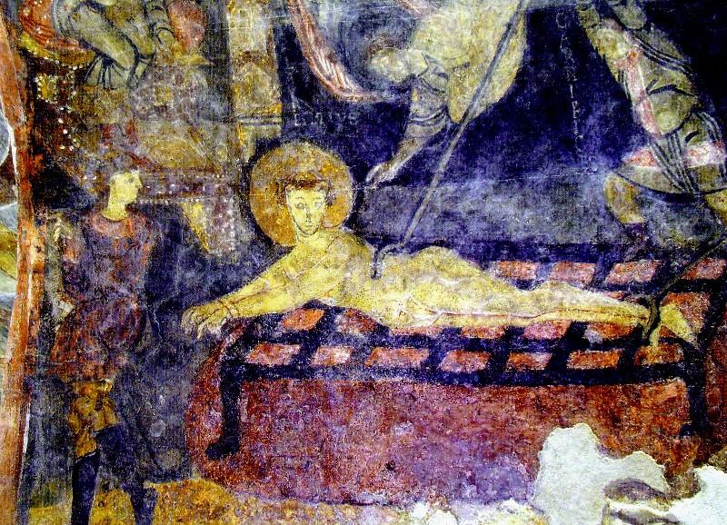 martirio di San Lorenzo,  affresco nella cripta di Epifanio (IX secolo) dans immagini sacre Martirio%20di%20San%20Lorenzo%20-%20%20affresco%20nella%20cripta%20di%20Epifanio%20800x578